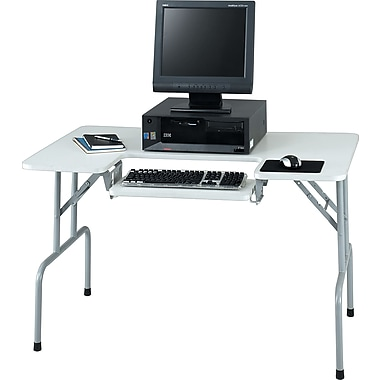 Safco Folding Compact Computer Table, Gray