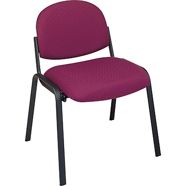 Office Star Armless Guest Chair with Steel Frame, Plum