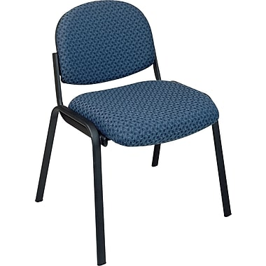 Office Star Armless Guest Chair with Steel Frame, Blue