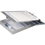 OIC Aluminum Form Holder w/ 1 Deep Storage/Calculator Clipboard, Letter, Silver, 8 1/2 x 12