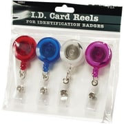 ID Card Reel With Belt Clip, Translucent, 4/PK, Assorted