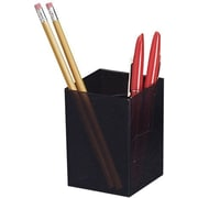 "Officemate® Pencil Cup, 3 Compartments, Black, 4""H x 2 7/8""W x 2 7/8""D"