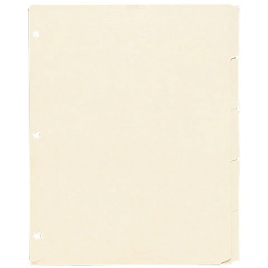 Oxford 3 Ring Book Index Sheets, 5 Tab, Manila, 8 1/2