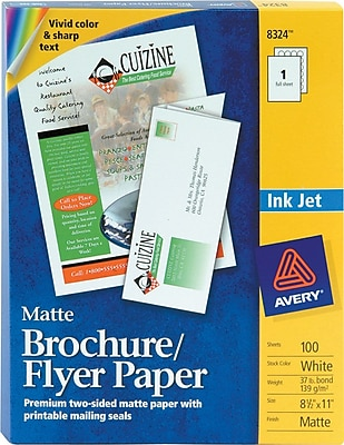 Avery Inkjet Tri-Fold Brochures, Matte Finish 443327