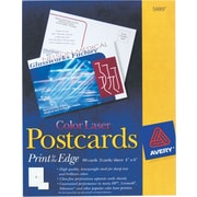 "Avery® Color Laser Postcards, 4"" x 6"" Uncoated"