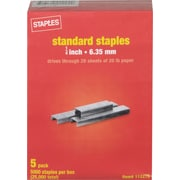 "Staples Standard Staples, 1/4"", 25,000/Pack (10807)"