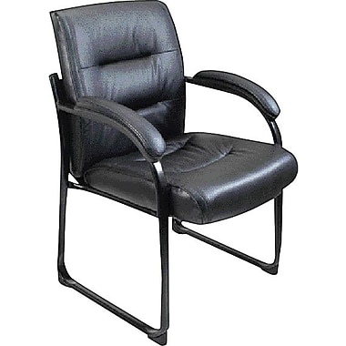 Staples Tillman Black Bonded Leather Guest Chair