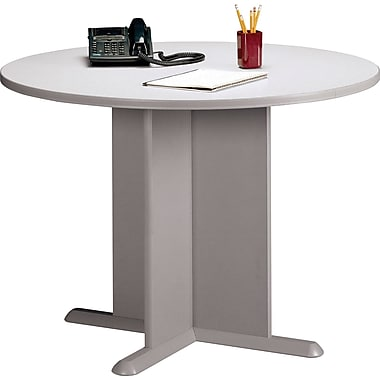 Bush Cubix 42in. Round Conference Table, Pewter/White Spectrum, Fully assembled