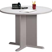 Bush Cubix 42 Round Conference Table, Pewter/White Spectrum, Fully assembled