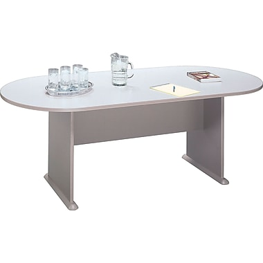 Bush Cubix Racetrack Conference Table, Pewter/White Spectrum, Fully assembled