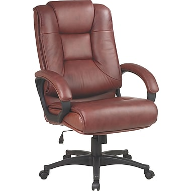 Office Star™ Leather Executive High-Back Chair, Saddle