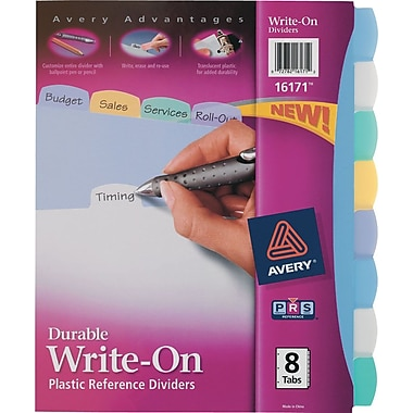 Avery® Durable Poly Write-On Dividers, 8-Tab, 1 Set/Pack