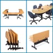Balt Laminate Flipper Training Tables, Teak