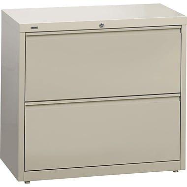 Hirsh HL 10000 Series Lateral File Cabinet, 2-Drawer, Putty