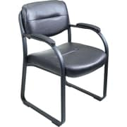 Office Star Leather Guest Chair, Black