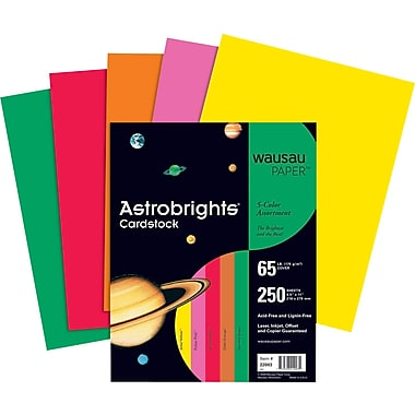 ASTROBRIGHTS® Cardstock, 8 1/2in. x 11in., 65 lb., 5-Color Assortment, Vintage, 250/Pack