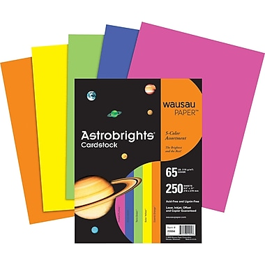 Wausau Paper Astrobrights® Card Stock, 8 1/2in. x 11in., Assorted Colors, 250/Pack
