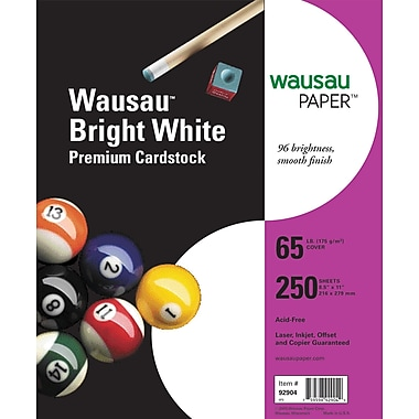 Wausau Paper Astrobrights® Bright White Card Stock, 8 1/2in. x 11in., 250/Pack