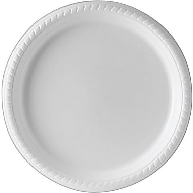Staples® Plastic Plates, 10 1/4in., White, 25/Pack
