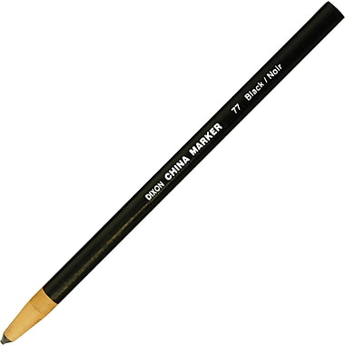 Dixon China Markers, Thin, Black, Dozen