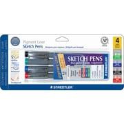 Staedtler® Pigment Liner Sketch Pens, 0.5 mm, Assorted Colors, 4 Pack