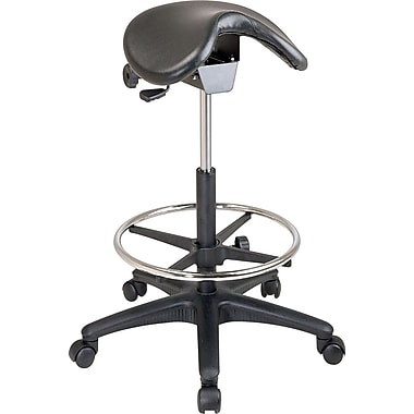 Office Star Faux Leather Backless Stool with Saddle Seat