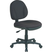 Office Star Mid-Back Fabric Task Chair, Armless, Black