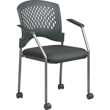 Office Star Stackable Titanium Finish Rolling Visitor's Chairs