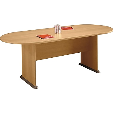 Bush Cubix Racetrack Conference Table, Light Oak/Sage