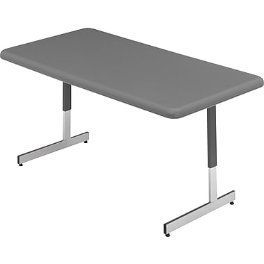 Iceberg 5' Adjustable-Height Resin Utility Table, Charcoal