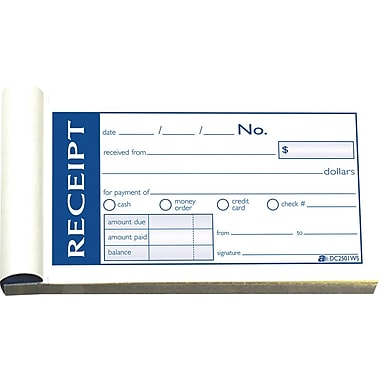 Adams Write & Stick Receipt Book, 2-3/4in. x 5-3/8in., 2 Part