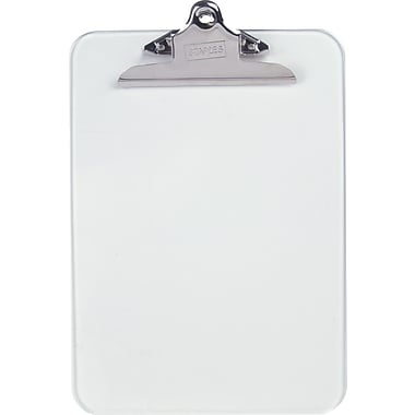 Staples® Plastic Clipboard, Clear, 9in. x 12in.