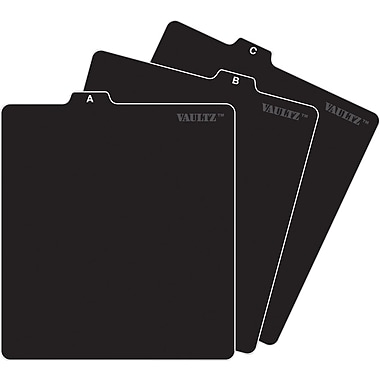 Vaultz A-Z CD File Folder Guide Tabs, Black