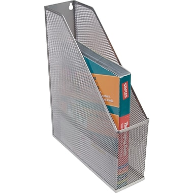 Staples Silver Wire Mesh Magazine File, 12 1/4in.H x 3in.W x 10in.D