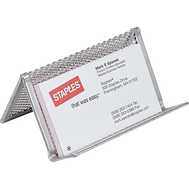 Staples Silver Wire Mesh Business Card Holder, 2in.H x 4 1/4in.W x 2 3/4in.D