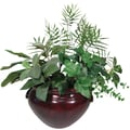 8 Inch Silk Greenery Bush Plant in Fiberglass Mahogany Container