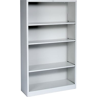 HON® Brigade 4-Shelf Metal Bookcase, Gray