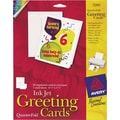 Avery Inkjet Quarter-Fold Cards, White, Matte, 4 1/4in. x 5 1/2in.