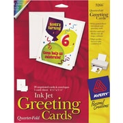 Avery® Inkjet Quarter-Fold Cards, White, Matte, 4 1/4 x 5 1/2