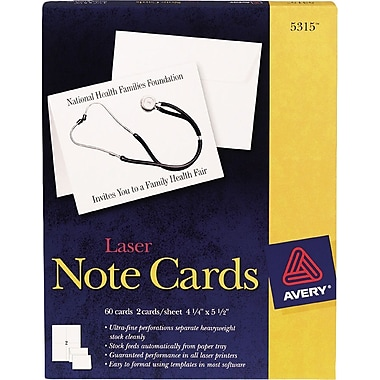 Avery Laser Notecards, White, Uncoated, 60 Pack