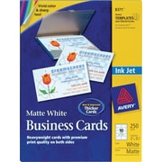 Avery® Inkjet Business Cards, White, 2 x 3 1/2, 250/Cards