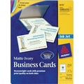 Avery® Inkjet Business Cards, Ivory, 2in. x 3 1/2in., 250/Cards