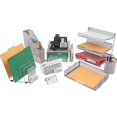 Staples® Silver Wire Mesh Desk Collection