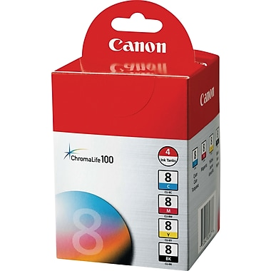 Canon CLI-8 Black and Color Ink Cartridges (0620B010), 4/Pack