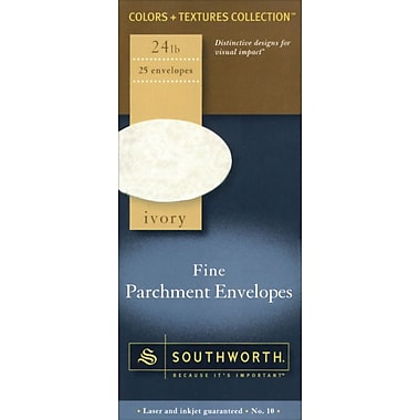 Southworth® Fine Parchment Envelopes, #10, 24 lb., Ivory