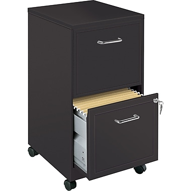 Office Designs Vertical Mobile File Cabinet, 18in. 2-Drawer, Letter Size, Black