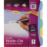 Avery® Durable Poly Write-On Tab Dividers, 5-Tab, 1 Set/Pack