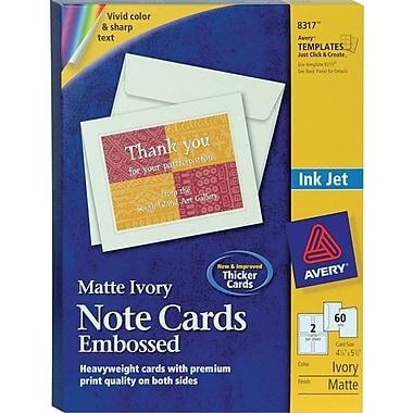 Avery® Embossed Inkjet Notecards, Ivory, Matte Finish, 60 Pack
