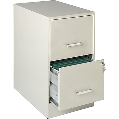 Office Designs Vertical File Cabinet, 22in. Deep 2-Drawer, Letter Size, Stone