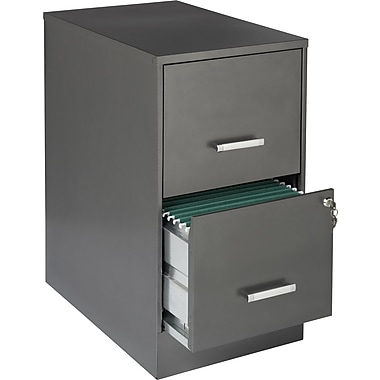 Office Designs Vertical File Cabinet, 22in. Deep 2-Drawer, Letter Size, Metallic Charcoal